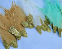 Glitter Gold Dipped Feathers - feather garland - tribal, indie - wild fun décor - what a great Nursery, Shower or Boho Wedding Idea!