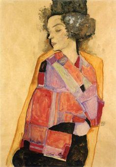 Love this colorful painting.Egon Schiele, Gertie Schiele. 1911