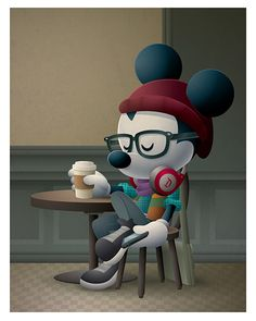 Cafe Hipster - New Hipster Mickey piece coming to WonderGround Gallery on Saturday, February 6th. I'll be there from 11am -1pm. Come say hello.