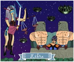 Libra, Signos del Zodiaco, dibujo, ilustración