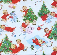 Vintage Norcross CHRISTMAS BABY Gift Wrap by MidCenturyAddiction