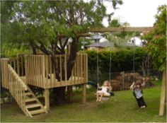 DIY Tree House With Slide And Swings ............FOLLOW DIY FUN IDEAS!!! BEST DIY SITE EVER!!!