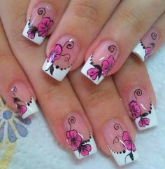 French manicure with flower nail art Fancy Nails Designs, French Manicure Designs, French Tip Nails, Nail Polish Designs, Nail Art Designs, The Art Of Nails, Great Nails, Cool Nail Art, Garra