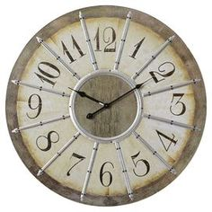 """Dolores Oversized 23"""" Louvre Large Wall Clock"""