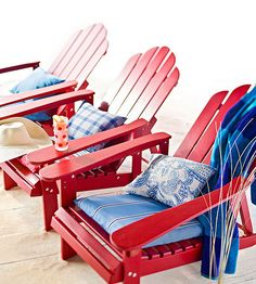 31 Fourth of July Party Ideas for a Seriously Patriotic Bash Adirondack Chairs, Outdoor Chairs, Outdoor Furniture, Lounge Chairs, Garden Furniture, 4th Of July Celebration, 4th Of July Party, Happy Fourth Of July, July 4th