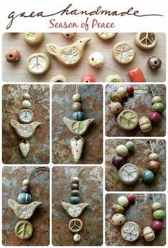 Handmade ceramic beads, pendants, and charms. Peace, birds, snowflakes… Gaea Ceramic Bead and Art Studio Blog: Wintertime