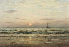 Eugène Gustav Dücker, KÜSTENLANDSCHAFT MIT UNTERGEHENDER SONNE, Auktion 985 Gemälde des 15. - 19. Jh., Lot 85