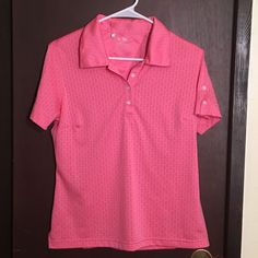 Adidas Clima Cool Women's Pink Button Sleeve Athletic Polo Top Shirt Size M | eBay