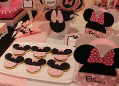 Cute cookies at a Minnie Mouse birthday party! See more party ideas at CatchMyParty.com!