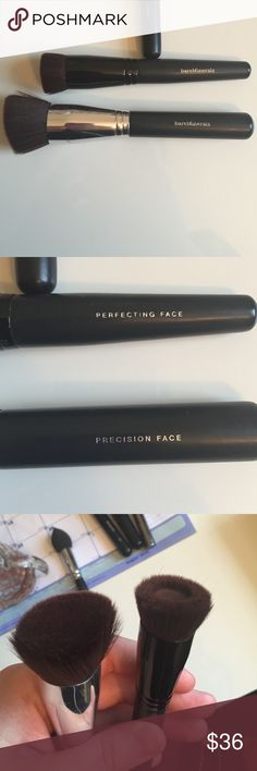 2 Bare minerals make up brushes One is an angled kabuki brush ideal for powders and the other is a liquid foundation brush with almost a hole like design for liquid foundations. Both have been sanitized. No trades please. Can be bought individually also. Are normally each $28 a piece bareMinerals Makeup Brushes & Tools