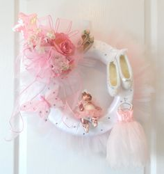 Pink and White Tutu Dance Ballet Wreath with Dancing Bear, Swarovski crystals, Handmade Ballet dress,rhinestone butterfly.........$99.00