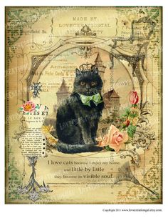 artisanat de 8 x 10 imprimable Art Digital Images Vintage Love Kitty Cat Couronne cite lunatique Rose Rose Paris Français cadre ACEO carte feuille Sh134