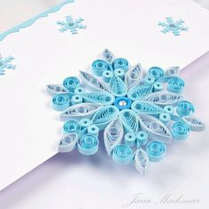 Quilled Snowflake in Blue and While