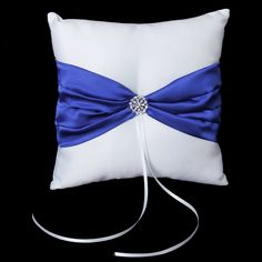 White Satin Bowknot Wedding Party Pocket Ring Pillow Cushion #Affiliate