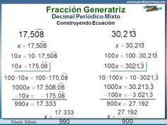 NÚMEROS RACIONALES - Fracción Generatriz: Decimal Periódico Mixto Con Ecuación E19 - YouTube