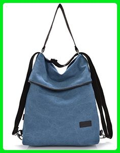 JollyChic Versatile Shoulder Bag Canvas Travel Outdoor Large Capacity Backpack Blue - Top handle bags (*Amazon Partner-Link)