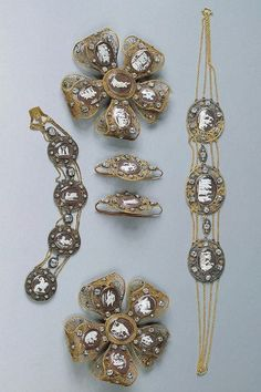 Parts of Parure Belonging to Grand Princess Alexandra Pavlovna (St. Petersburg, Russia): ca. 1795, gold, silver, cut diamonds, papier-mache and glass; chased polished and filigreed, Empress Maria Fiodorovna (cameo).