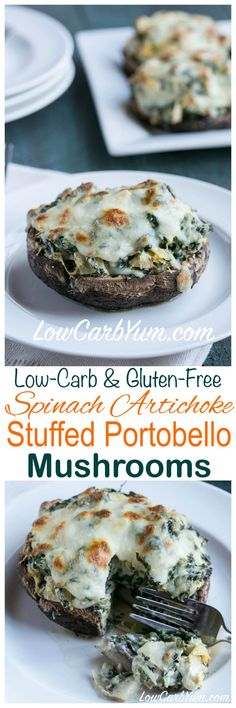If you like spinach artichoke dip and mushrooms, you will love spinach artichoke stuffed portobello mushrooms. Serve them as an appetizer or side dish. LCHF Keto Atkins THM: