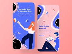Reading app onboarding by Zuairia Zaman for Awsmd on Dribbble - My Recommendations Layout Design, Id Card Design, Ui Ux Design, App Design Inspiration, Daily Inspiration, Design Ideas, Design Websites, Mobile App Design, Design Thinking