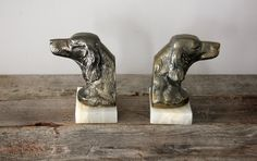 Marble and Cast Metal Dog Head Bookends by Heritage1956