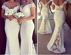 White Lace Mermaid Bridesmaids Dresses Sexy Off The Shoulder Short Sleeve Sweetheart Backless Wedding Dress Bridal Gowns Brides Maids Formal Bridesmaid Dresses Junior Bridesmaid Dresses Cheap