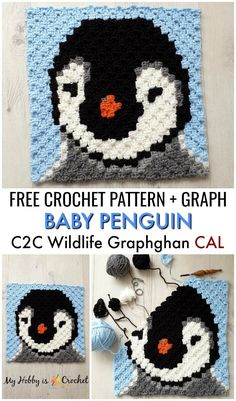 Baby Penguin Square - Free Crochet Pattern + Graph This adorable Baby Penguin Square is block of the Wildlife Graphghan CAL. Find the free written instructions +. Afghan Patterns, Crochet Blanket Patterns, Baby Patterns, Knitting Patterns, Pixel Crochet Blanket, Crochet Pattern Free, Crochet Gratis, Crochet Baby, Crochet Penguin