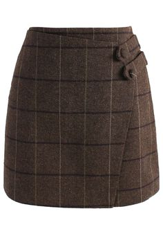 Zest of Grid Flap Bud Skirt in Brown - New Arrivals - Retro, Indie and Unique Fashion