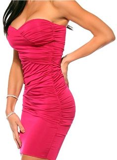 Fitted ruched sexy pink strapless evening mini dress
