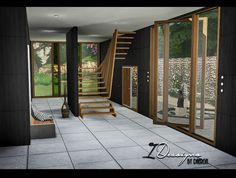 Sims 4 CC's - The Best: Pivoting Windows and Sculptural Stairs by Daer0n
