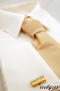 Pánská košile se saténovou regatou a manžetovými knoflíčky  AVANTGARD Tie Clip, Cufflinks, Wedding Cufflinks, Tie Pin