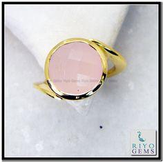 Rose Quartz Gem 18 C Gold Plated Birthstones Ring Sz 8 Gprroq8-6828 http://www.riyogems.com