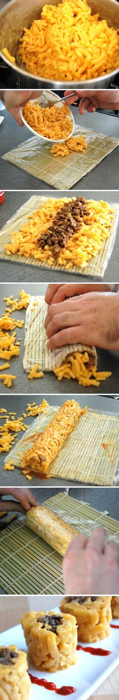 Mac n cheese sushi rolls - def not guilty but looks amazing when you want a guilty pleasure Sushi Roll Recipes, Dog Food Recipes, Cooking Recipes, Kid Cooking, Cheese Recipes, I Love Food, Good Food, Yummy Food, Tasty