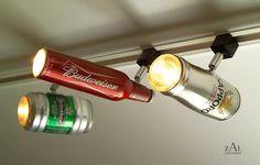 Uau, #spots de #luz reutilizando latas e garrafas! Ótima ideia para um decoração com proposta mais masculina e descolada!