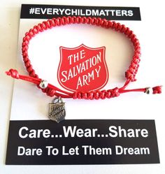 The Salvation Army recently used Caring Cords, our unisex bracelets, to thank attendees of their Get Behind the Red Shield gala. Every Child Matters, Adjustable Knot, Message Card, Macrame Bracelets, Signature Logo, Unisex, Cords, Mini, Red