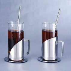 Coffee Mugs, Made of Glass, Includes 2 Pieces Straws and Plates