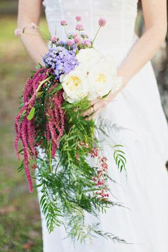 wild bouquet, photo by Flora + Fauna http://ruffledblog.com/abandoned-greenhouse-wedding #flowers #weddingbouquet