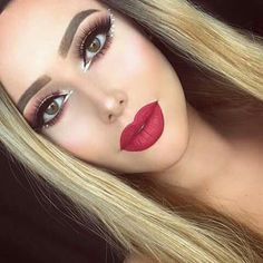 #Makeup #Red_lips #Glow #Crystal
