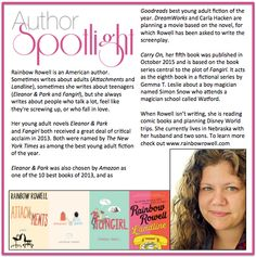 Check out this year's first #AuthorSpotlight: #RainbowRowell voted one of #NewYorkTimes best #YA #fiction authors