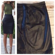 """Genuine leather mini skirt Beautiful black real leather mini, fully lines and hidden side zipper.  Tagged as size 10; Measurements when laying flat: 15"""" waist and 20"""" total length. Excellent condition. Skirts Mini"""