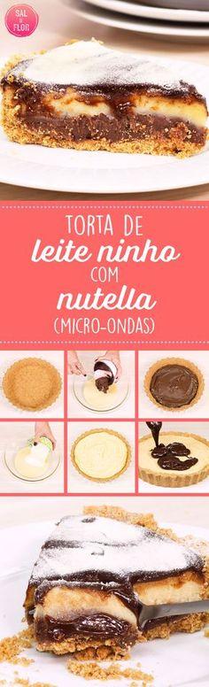 Receita deliciosa e super prática de leite ninho com Nutella. Torta trufada feita no micro-ondas com massa de biscoito. #receita #pie #torta #sobremesa #chocolate #biscoito #microondas #nutella #food #foodporn #leiteempó #leiteninho