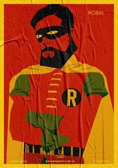 Wiskow • Amor Bandido • Pôster Série Super-Heróis Barbudos #robin #hq #quadrinhos #design #posters