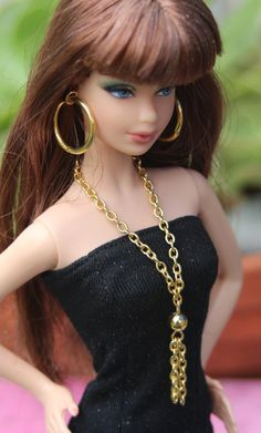 Jewelry for Barbie Tassel Necklace Hoop Earrings Gold Tone Doll Accessories