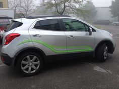 Speedpro Imaging Oshawa took this 2014 Buick Encore and gave it custom 2 colour side graphics using Avery Supreme Wrap film in light green and green matte metallic!  Brilliant!