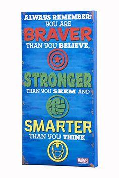 Avengers 'Stronger' MDF Wood Inspirational Wall Art for k...