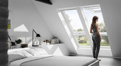 Develop attic apartment with VELUX * bedroom under the roof * Living ideas for small rooms Source by Attic Apartment, Attic Rooms, Loft Room, Bedroom Loft, Skylight Bedroom, Roof Window, Room Planning, Loft Spaces, Small Rooms