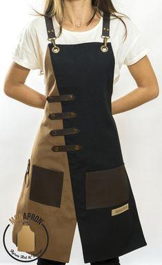 Artisanats Denim, Black Apron, Aprons For Men, Cool Aprons, Leather Apron, Sewing Aprons, Apron Designs, Apron Dress, Barista