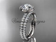platinum diamond engagement ring, wedding band, engagement set VD10082S