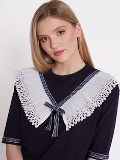 Dahlia Serena Navy T-Shirt With Sailor Detail Neckline