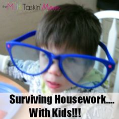 Getting housework done with kids underfoot is possible. Today I am sharing how to survive housework with kids.