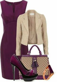 Fashion Style Combinaton-Burgundy Pencil Styled Dress with beige Jacket, handbag, pumps and accessoreis